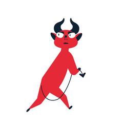frightened cartoon red devil running away feeling vector image