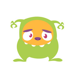 Funny cartoon of scary green monster illus vector