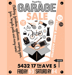 Garage or yard sale with signs box and household vector