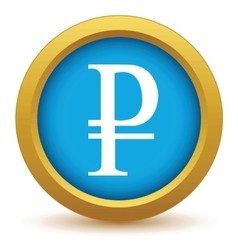 Gold ruble icon vector