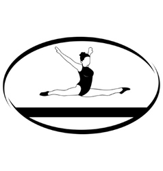Gymnastics on the balance beam vector