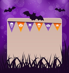 Halloween card with hanging flags vector