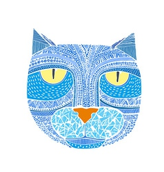 Hand drawn graphic a cat unique art vector