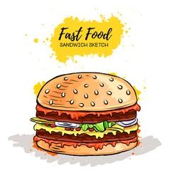 Hand drawn Hamburger or Sandwich vector