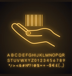 Hand holding barcode neon light icon vector