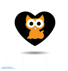 heart black icon love symbol cute kitty in vector image