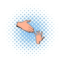 Helping hands icon comics style vector