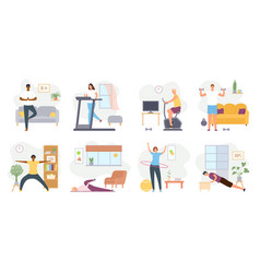 Home exercises people meditate do yoga sport vector