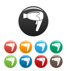 Home hair dryer icons set color vector