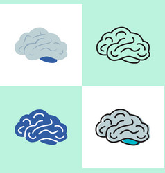 human brain icon set in line and flat styles vector image