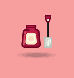 Icon of nail polish open bottle of red and vector
