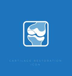 Icon restoration cartilage treatment joint bones vector