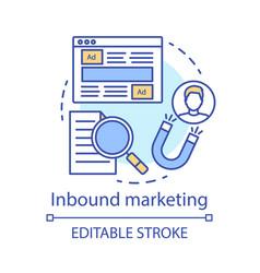 inbound marketing concept icon brand awareness vector image