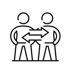 Interaction line icon concept sign outline vector