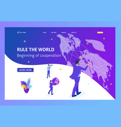 Isometric businessman running the map world vector
