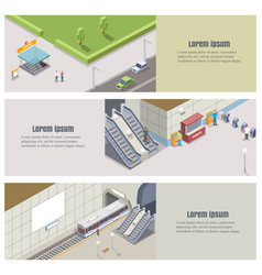 Isometric subway underground banner set vector