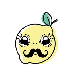 Kawaii nice surprised lemon fruit vector