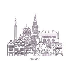 latvian architecture buildings vector image