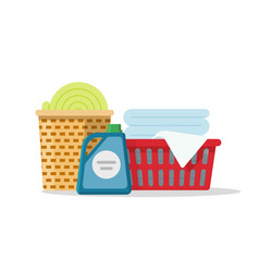 Laundry on baskets flat vector