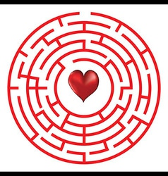 Love heart maze or labyrinth vector image