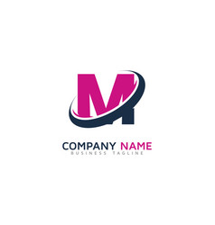 M ring letter with swoosh logo icon design vector