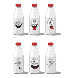 Milk smailing bottle set 002 vector image