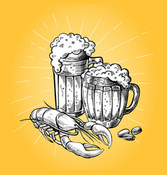 mugs of beer peanuts and red lobster vector image