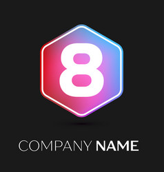 Number eight symbol in colorful hexagonal vector