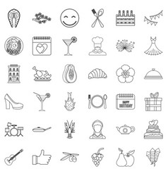 party icons set outline style vector image