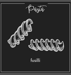 Pasta fusilli spiral chalk sketch for italian vector