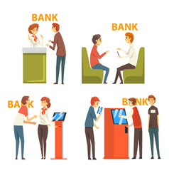 people consulting at managers at bank office and vector image