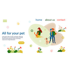 People with their pets on banner pet vector