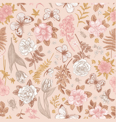Pink seamless pattern with flowers vector