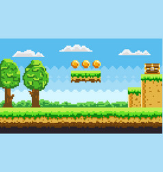 Pixel-game background with coins in sky pixel vector