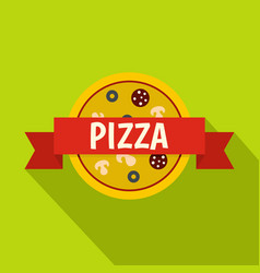 Pizza badge with red ribbon icon flat style vector
