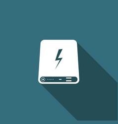 power bank icon isolated with long shadow vector image