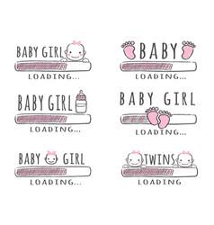 Progress bar with inscription - baby girl loading vector