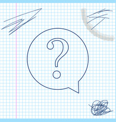 question mark in circle line sketch icon isolated vector image