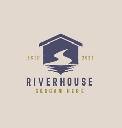 river house logo template vector image