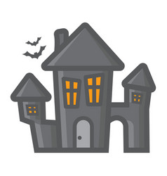 scary house filled outline icon halloween scary vector image