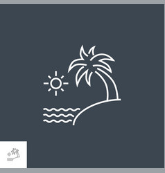 sea and palm line icon vector image