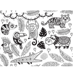 Seamless pattern with tropical animals in vector