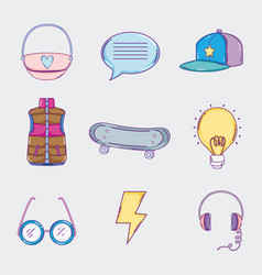 Set of youth culture icons vector