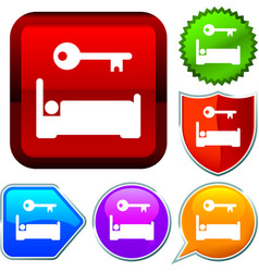 Set shiny icon series on buttons accomodation vector