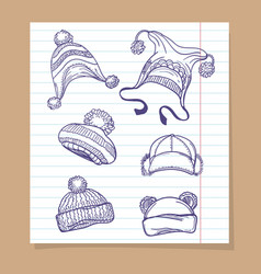 Sketch winter hats set vector