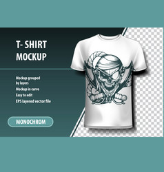 Skull pirate t-shirt template fully editable vector
