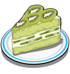 slice delicious fruit kiwi cake dessert vector image