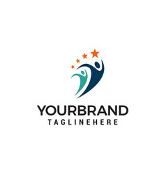 sport people logo design concept template vector image