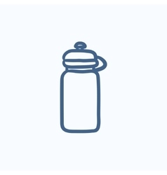 Sport water bottle sketch icon vector image