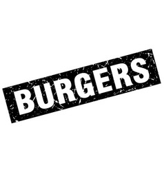 Square grunge black burgers stamp vector